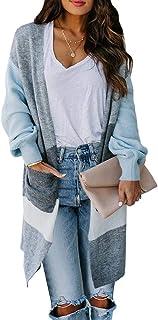 Foshow 女式波西米亚拼色长开衫长袖前开襟针织毛衣轻质大衣带口袋