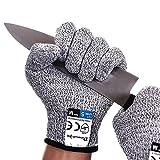 Dowellife 抗切割手套食品级5防护,*厨房切割手套适用于牡蛎减震、鱼颗加工、曼陀林切片、肉切割和木雕。 中 灰色 XMS1469