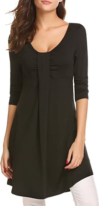 SE MIU 女式 V 领长袖纯色飘逸束腰连衣裙 B-Black XX-Large