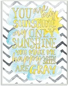 Stupell Decor You are My Sunshine 水彩墙壁花饰艺术 蓝色 brp-1761_wd_10x15