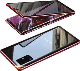 HONTECH Galaxy A51 5G 防间谍磁性手机壳,超薄隐私磁吸附前后钢化玻璃,内置屏幕保护膜,金属保险杠翻盖保护套 6.5 英寸 红色