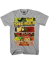 Marvel 3 Heros She-Hulk 黑寡妇红衣巫术书图形男式成人 T 恤