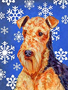 Airedale Winter Snowflakes Holiday Flag 多色 大