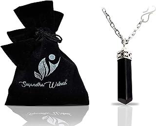 天然黑色电气石水晶*项链 - 用于根查克拉 | 丢弃负能量 | 防护环境污染物 | 自然压力辅助 | 配有时尚不锈钢链