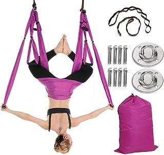 ZXMT 瑜伽吊床秋千套装,带安装套件梯形吊带,适用于初学者和儿童家庭和健身房健身空中瑜伽