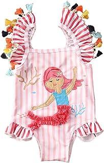 儿童幼童女童连体泳衣沙滩装条纹美人鱼流苏泳装