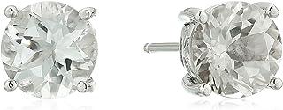 女式镀铂金标准纯银天然白色托帕石施华洛世奇耳钉