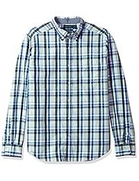 Nautica 男式长袖格子亚麻纽扣衬衫