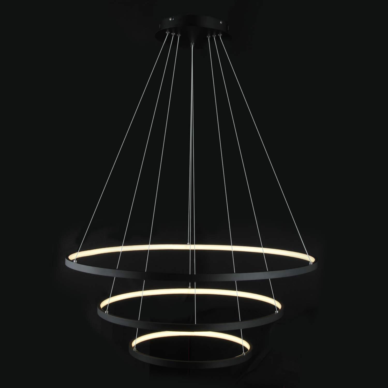 LightInTheBox 智能 WiFi LED 3 环吊灯岛餐厅照明灯具,*大 90 瓦涂漆的智能手机控制兼容亚马逊 Alexa 和 Google Home Black Wifi S474572300019##wh=7