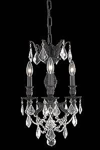 优雅照明马赛系列 3 灯悬挂灯具,带施华洛世奇线/元素金色阴影水晶,古铜色表面