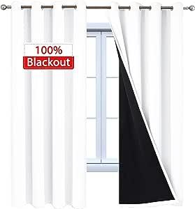 Yakamok 灯光阻挡深色隔热遮光窗帘纯色金属环顶窗帘/垂坠/卧室/客厅 2 片面板 纯白色 2 Panels/52 * 84Inch