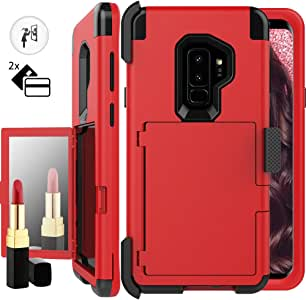 Galaxy S9 Plus 女士钱包式手机壳,奥克卡夹+化妆镜防震手机壳带皮带夹重型*级全身混合保护套适用于三星 Galaxy S9 PlusAuker-wallet case fit samsung galaxy s9 Plus 红色