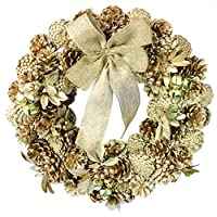 彩か【SAIKA】 CGX-R10L Ribbon Wreath -Gold & Leaves L