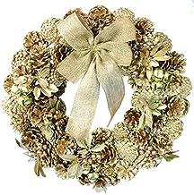 彩か【SAIKA】 CGX-R10L Ribbon Wreath -Gold & Leaves L
