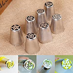 FKUO 7Pcs Cake Decorating Tools Icing Piping Nozzle Molds Russian Piping Tips Cake Molds Baking Tools for Cakes Bakeware Pastries (7pcs)