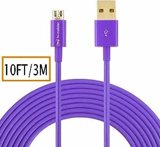 hi-mobiler HIGH SPEED 3m USB 2.0A MALE TO Micro B 连接线带镀金接头三星 LG HTC 和其他平板电脑智能手机 紫色 10 feet