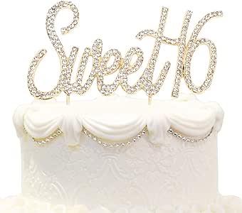 甜蜜 16 岁蛋糕装饰 适合生日或 16 岁结婚纪念日黄金水晶水钻派对装饰(金色) 金色 Rhinestone-16