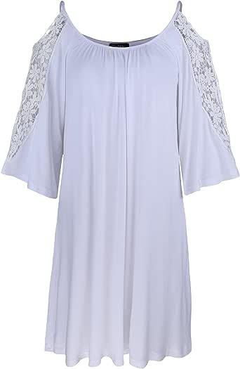 Kilig 女式 七分袖露肩束腰上衣宽松休闲连衣裙 白色 X-Large