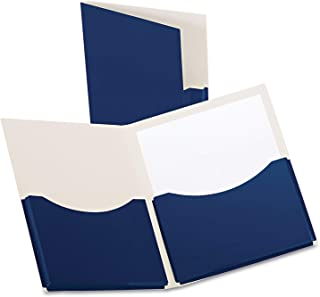 Oxford Double Stuff Gusseted 2-Pocket Laminated Paper Folder, 200-Sheet Capacity, Navy (OXF54443)