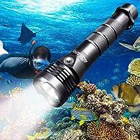 Acelane 潜水灯 潜水手电筒 水下潜水灯 80M 2000 流明防水手电筒潜水灯 带可充电 26650 电池和 USB 充电器