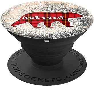 复古 Mama-Bear 圣诞款红色格纹 PopSockets 抓地力和支架,适用于手机和平板电脑260027  黑色