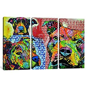 """iCanvasART 1 件 Thoughtful Pit Bull This Years II 帆布印刷画 Dean Russo 60"""" x 40"""" DRO15"""