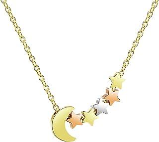 Joycuff 月亮和星星项链适合女友妻子女儿妈妈*好的朋友银镀金可爱吊坠精致时尚手工时尚月牙珠宝