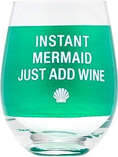Instant Mermaid Just Add Wine Green 16 盎司玻璃酒杯
