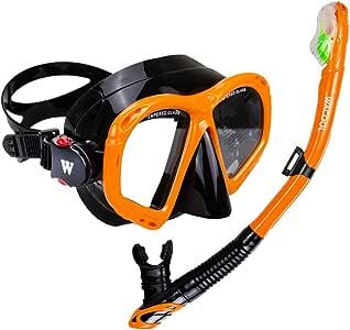 WACOOL 浮潜套装适用于成人,防雾涂层玻璃潜水面罩,吸管带硅胶嘴,透明阀和防溅保护