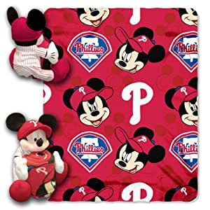 MLB Philadelphia Phillies Mickey Mouse Pillow with Fleece Throw Blanket Set
