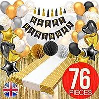 黑色和金色派对装饰带生日快乐横幅 - 生日派对装饰,黑色和金色气球,锡箔流苏窗帘,黑色和金色桌布等!