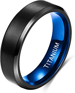 TIGRADE 6MM 8MM 钛戒指黑色哑光婚礼订婚戒指舒适贴合尺寸 6-14