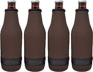 TahoeBay 啤酒瓶套 - 易穿底部拉链 - 超厚氯丁橡胶空白饮料冷却器 巧克力棕色 12oz