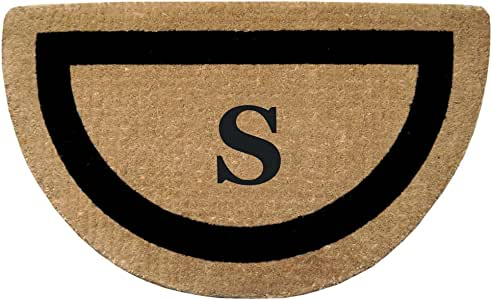 Creative Accents Single Picture Black Frame Half Round Heavy Duty Coir Doormat, 22 by 36-Inch, Monogrammed S