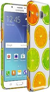 三星 Galaxy J7 J700 手机壳,透明透明弹性纤薄硅胶 TPU 凝胶软保护壳 - 宝石 TPU Clear Citrus Slice