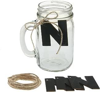 Ivy Lane Design 梅森罐 12 杯套装,带黄麻和黑板,贴纸 黑色 A91614/N