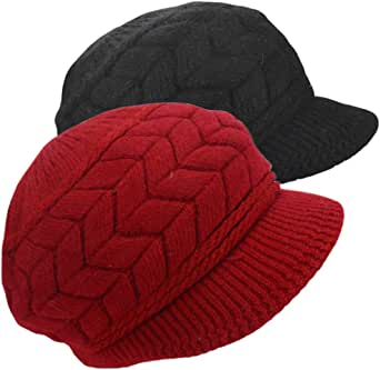 SYAYA 女式冬季保暖针织帽羊毛滑雪帽带遮阳帽 DMZ01 Black Deep Red Medium