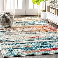 JONATHAN Y CTP102 当代流行现代抽象笔笔杆奶油色/蓝色 91.44 x 152.4 cm 区域地毯