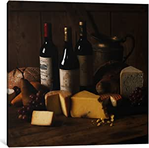iCanvasART 7053-1PC3-26x26 Wine and Cheese Canvas Print by Michael Harrison, 0.75 x 26 x 26-Inch