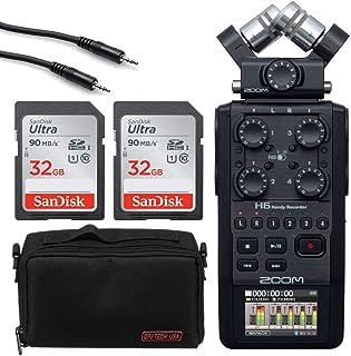 Zoom H6 全黑色 6 输入 / 6 轨便携式便携式录音机带单麦克风胶囊(黑色) + 2 个 32GB Ultra SDHC 存储卡+ 立体声迷你公头至立体声迷你公头电缆 + Op/Tech 配件包 - 8 英寸