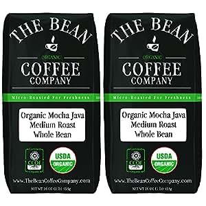 The Bean Coffee Company 摩卡爪哇咖啡,中度烘焙,全豆,16盎司/453克袋装(2 件装)