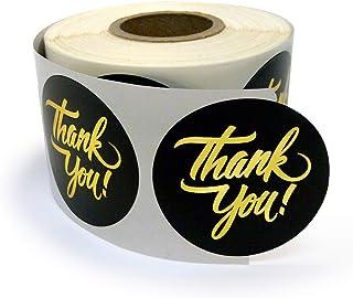 Next Day Labels 500 感谢贴纸/公司促销商品、派对礼品、信封或商业商品/圆形,3.81 厘米,粉色和金箔字母 黑色