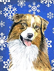 Australian Shepherd Winter Snowflakes Holiday Flag 多色 小号