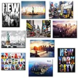 10 套纽约纽约纽约纪念品大照片冰箱贴 6.35 x 8.89 厘米 - 10 件装