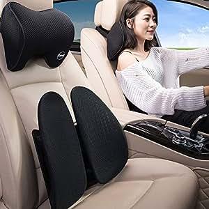 倍逸舒(easyback)标准版汽车腰靠+头枕套装 办公护腰靠垫 缓解腰疼腰部支撑 (黑色腰靠+头枕)