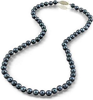 珍珠球 14K 金 5.0-5.5mm 圆形真品黑色日本 Akoya 海水养殖珍珠项链 18 英寸公主长度 女士用长度