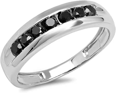 0.95 Carat (ctw) Sterling Silver Real Round Black Diamond Men's 7 Stone Wedding Band 1 CT (Size 8.5)