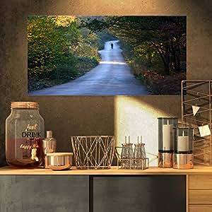 """《单穿越路上行走》照片帆布艺术墙照片艺术作品印刷品 绿色 32x16"""" PT9155-32-16"""