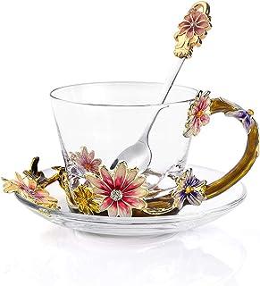 奢华咖啡杯玻璃咖啡杯耐热水晶马克杯 8 盎司(约 227.6 毫升)带勺子和碗碟手工咖啡杯无铅创意礼品商务礼品生日礼物