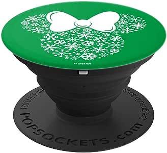 Disney 米妮老鼠图标假日雪花*背景波纹套筒握把和支架,适用于手机和平板电脑260027  黑色